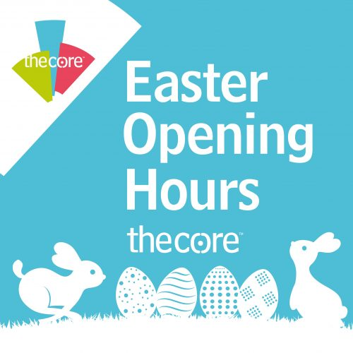 Image of The Core logo with Easter bunnies and eggs